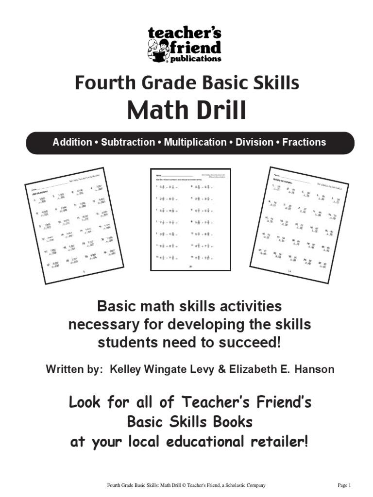 4th Grade Basic Skills Math Drill | Fraction (Mathematics ...