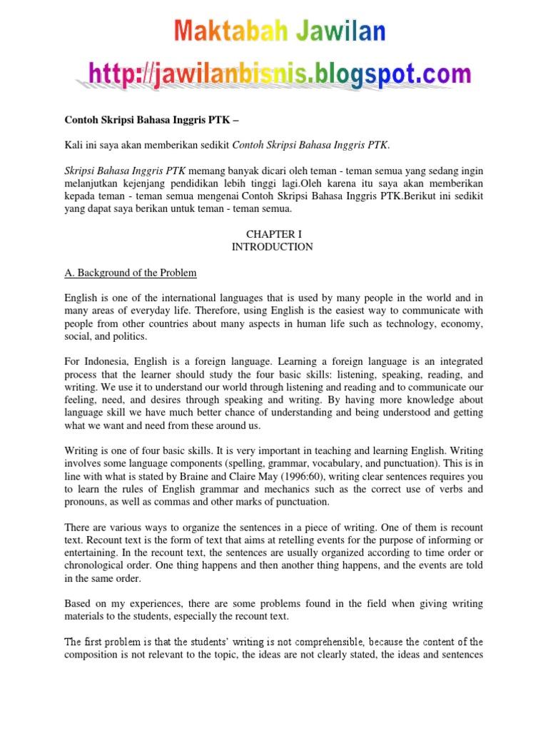 Contoh Skripsi Bahasa Indonesia Non Ptk