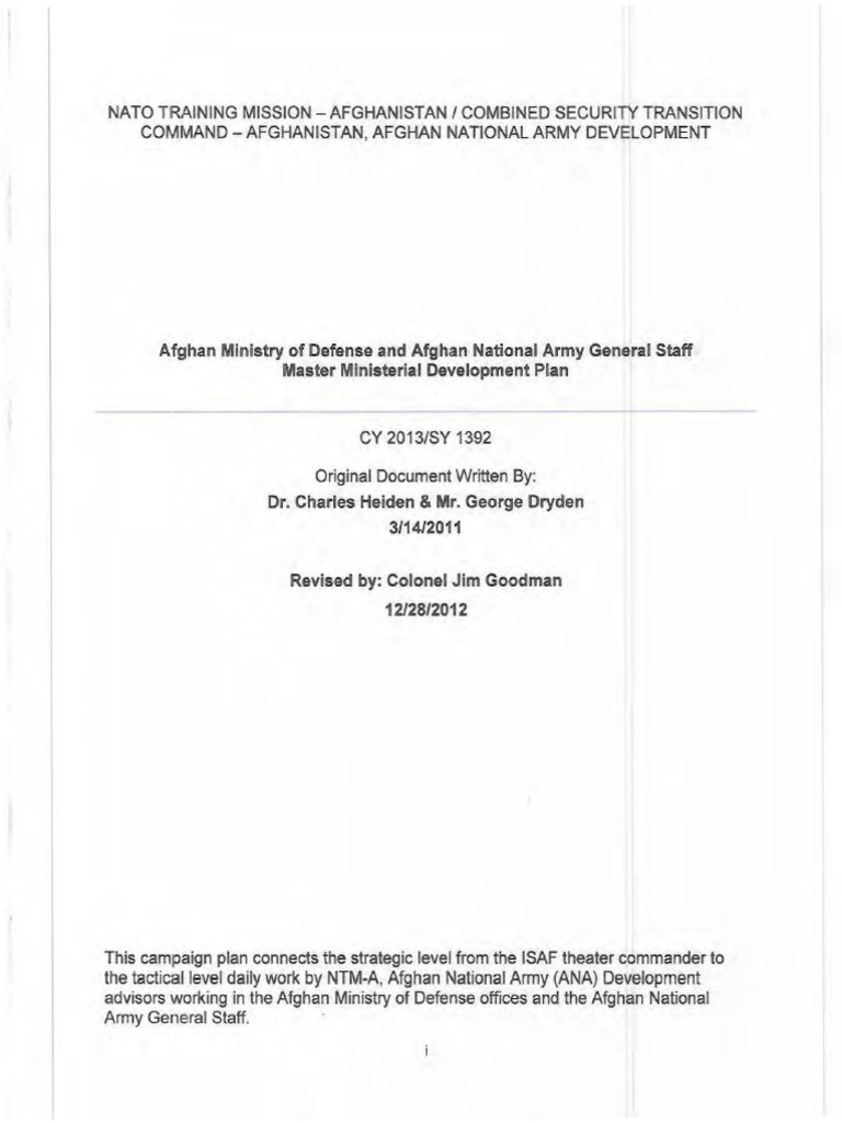 Nato afghan ministry of defense and afghan national army general nato afghan ministry of defense and afghan national army general staff master ministerial development plan afghan national army staff military nvjuhfo Gallery