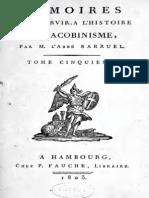 Abbé Barruel - Mémoires pour servir à l'histoire du jacobinisme. Tome V