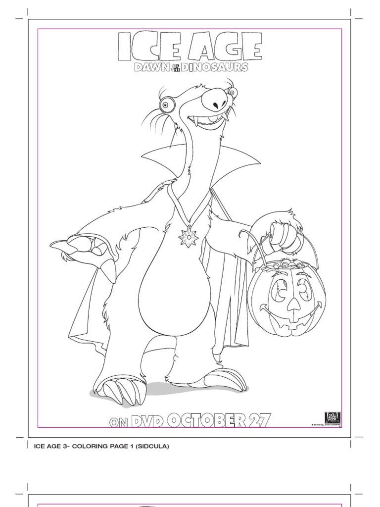 Sid Of Ice Age Coloring Pages free spiderman images coloring pages