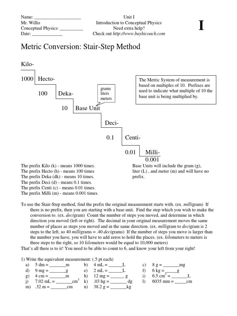 I Metric Conversion Worksheet International System Of Units