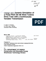 18 Design and Dynamic Simulation of a Fixed Pitch 56kW Wind Turbine Drive Train With a Continuously Variable Transmission