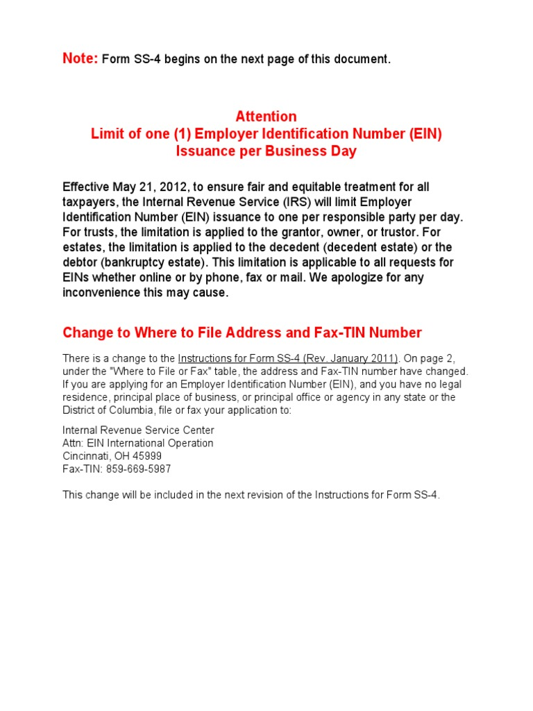 Form Irs Ss 4 Instructions Iss4 Irs Tax Forms Tax Return United