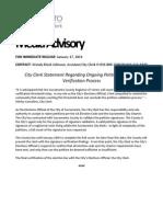 City of Sacramento Statement Regarding Ongoing Petition Signature Verification