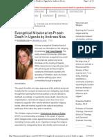 Evangelical Missionaries Preach Death in Uganda by Andreea Nica
