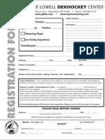 Greater Lowell DekHockey Center 2009 Registration Form