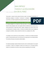 EL PARADIGMA CRÍTICO CONSTRUCTIVISTA Y LA EDUCACIÓN ALTERNATIVA EN EL PERÚ