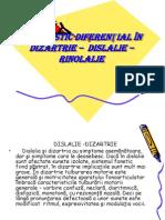DIAGNOSTIC DIFERENŢIAL ÎN  DIZARTRIE –  DISLALIE – RINOLALIE