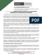 MINISTRO DEL INTERIOR ANUNCIÓ MÁS DE  82 MILLONES DE SOLES DE INVERSIÓN PARA SEGURIDAD EN AREQUIPA.doc