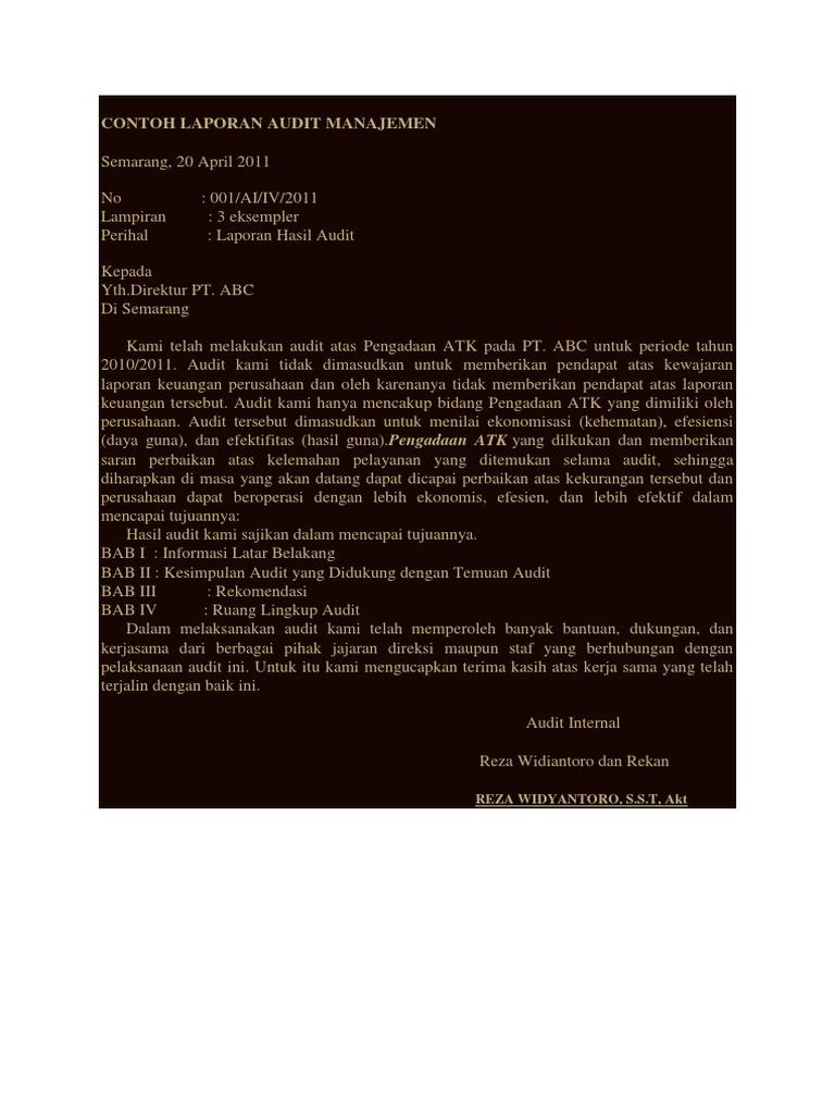 Laporan Audit Manajemen Pt Abc