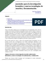 Fuentes documentales para la investigación audiovisual, informática y nuevas tecnologías de la información y documentación