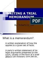 Writing a Trial Memorandum