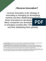 Reverese Innovations