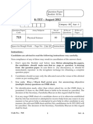 KTET 2012 Question Paper for Category III Code 715 SET (A