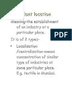 Plant Location Factors