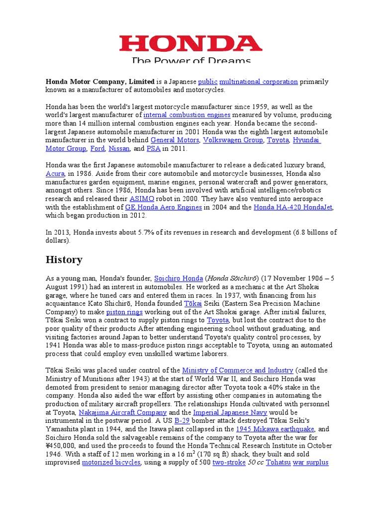 honda motor company history