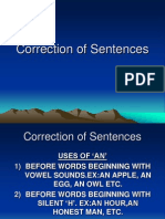 Correction of Sentences