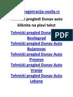 Tehnicki pregled Dunav Auto