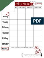 Weekly Menu Plan Printable- February