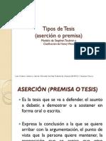 Tipos de Tesis -aserción o premisa