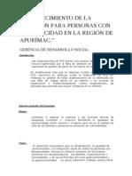FORTALECIMIENTO DE LA ATENCIÓN PARA PERSONAS CON DISCAPACIDAD EN LA REGIÓN DE APURÍMAC