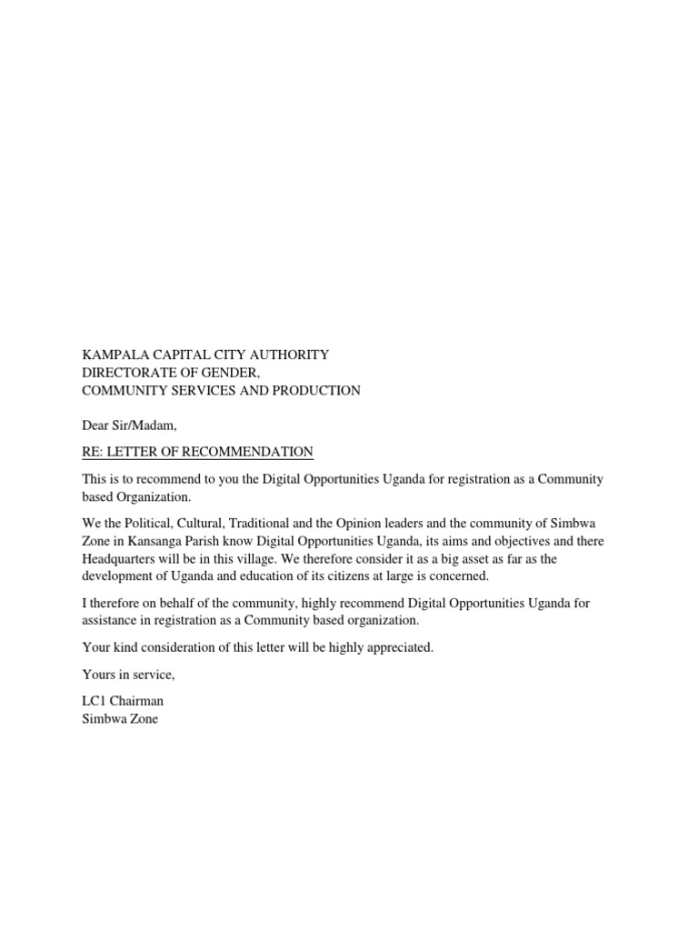 LC1 Recommendation Letter To KCCA