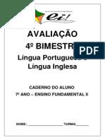 avaliação 7º ano línguas 4º bimestre