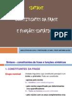 Grupos frásicos e funções sintáticas
