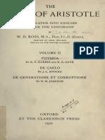 Aristotle 02 - Physica - De Caelo - De Generatione Et Corruptione - Ross