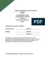Sanitation Standard Operating Procedure