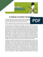 A Tribute to Sachin Tendulkar