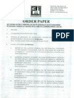 Parliament Order Paper of 6th August 2013