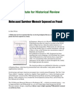 Holocaust Survivor Memoir Exposed as Fraud (IHR)