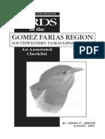 2001. Checklist of Birds El Cielo, Arvin