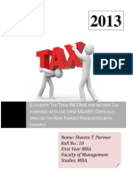 Elucidate the Term INCOME for Income Tax Purposes With the Term SALARY