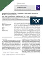Dégradation pdt mise en oeuvre PDLLA en présence de Bioglass