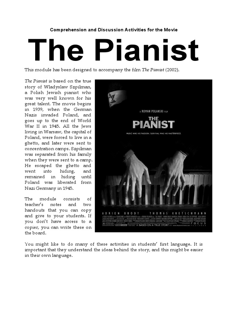 The Pianist - Analytical Response Essay | Unrest | Violence