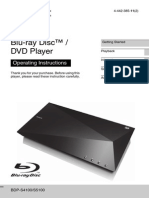 Sony Blu-Ray/DVD Player Manual