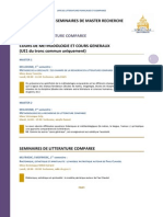 Programmes Des Seminaires de Litterature Comparee 2013-2014-2