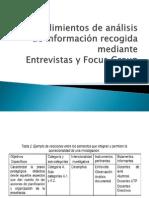 Procedimientos de análisis de información recogida mediante