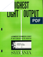 Sylvania Fluorescent Lifeline Slimline Lamps Brochure 1964