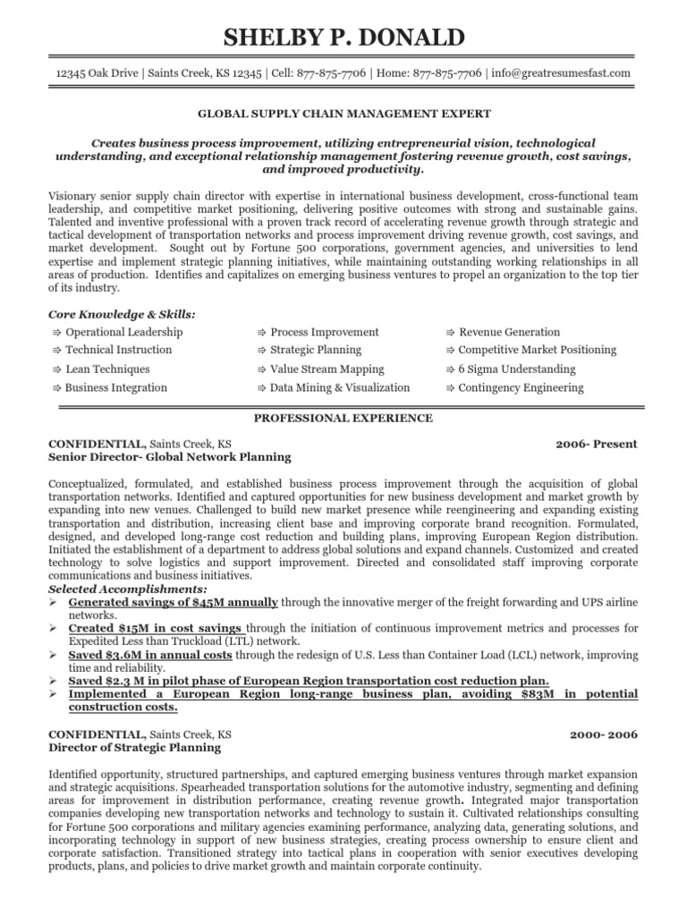 Global Supply Chain Manager Resume | Supply Chain Management | Transport