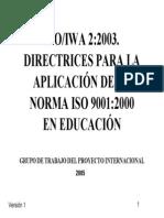 Directrices Para La Aplicacion de La Norma ISO 9000 2000 en Educacion