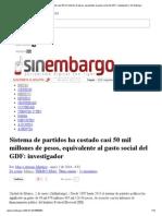 Sistema de Partidos Ha Costado Casi 50 Mil Millones de Pesos, Equivalente Al Gasto Social Del GDF_ Investigador _ Sin Embargo