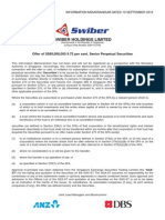 Swiber Hldgs Ltd | S$ 80,000,000 9.75 per cent Senior Perpetual Securities 25/9/2012
