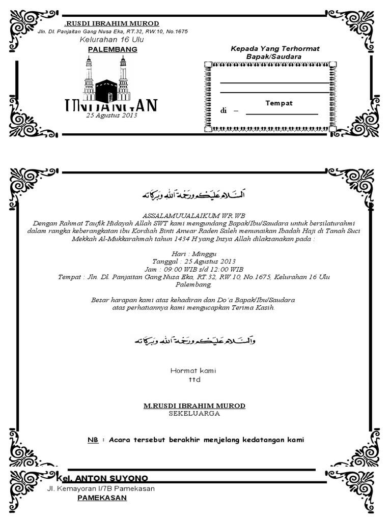 Contoh Undangan Syukuran Keberangkatan Haji