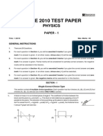 IIT-JEE 2010 Question Paper With Answer Key