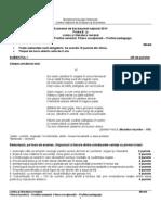 Variantă Limba Română Filiera teoretică – Profilul umanist; Filiera vocaională – Profilul pedagogic