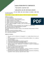 Examen disciplina DEMOGRAFIE COMPARATĂ_2013